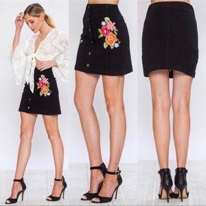Jealous Tomato Embroidered Black Denim Mini Skirt